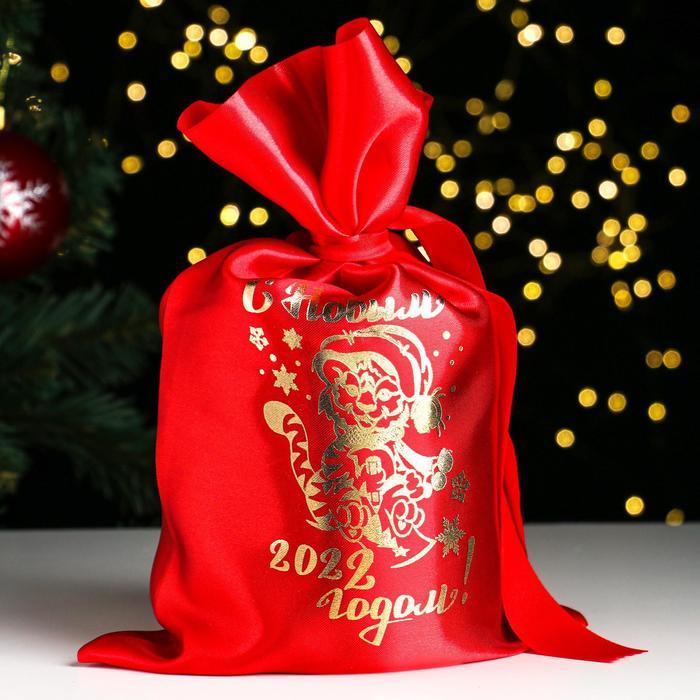 Мешок С новым годом 2022 тигр, атлас, с завязками, красный, 20х30 см
