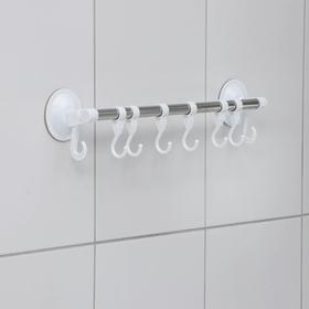 Держатель для полотенец на присосках, 5 подвижных крючков 46×4,7×8 см, цвет белый