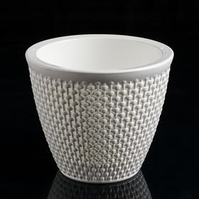 Кашпо со вставкой «Ротанг», 1,6 л, цвет белый