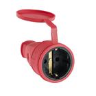 Розетка переносная 16-005, 16 А, 250 В, IP44, с з/к, с заглушкой, каучук, красная