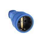 Розетка переносная 16-005, 16 А, 250 В, IP20, с з/к, без заглушки, каучук, синяя