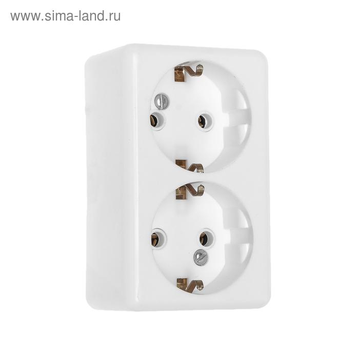 """Розетка """"Элект"""" РС 16-011, 16 А, 250 В, двухместная, открытая, с з/к, белая"""