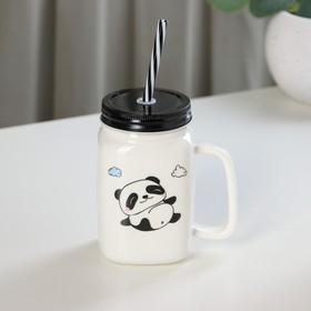 Кружка «Панда», 420 мл, с металлической крышкой и трубочкой, рисунок МИКС