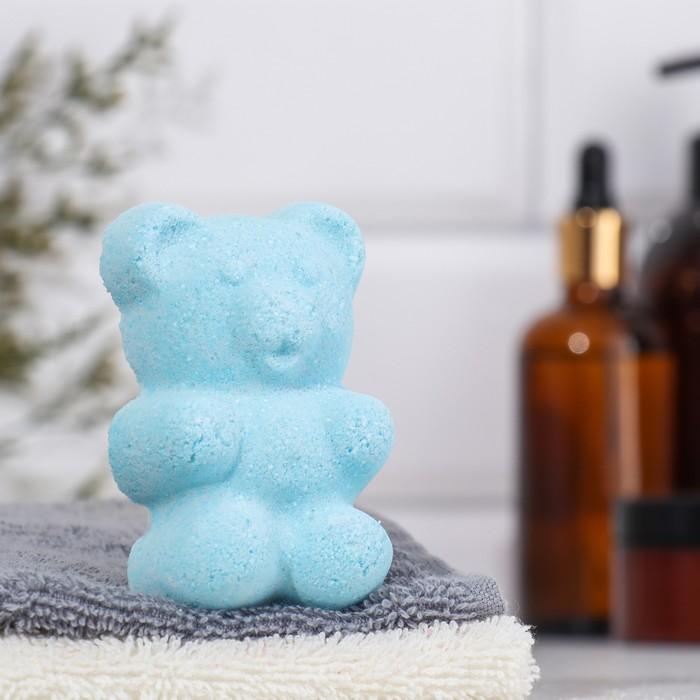 "Шипучая бомбочка ""Медвежонок"" с ароматом яблока, голубая, 100 гр"