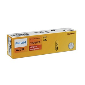 Лампа автомобильная Philips, W2,3W, 12 В, 2.3 Вт, (W2x4,6d), 12061CP