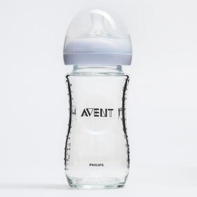 Бутылочка для кормления 240 мл., от 1 мес., медленный поток, серия Natural