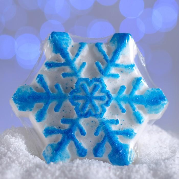 Бурлящая соль для ванны «Снежинка», голубая, с ароматом шоколада, 100 г