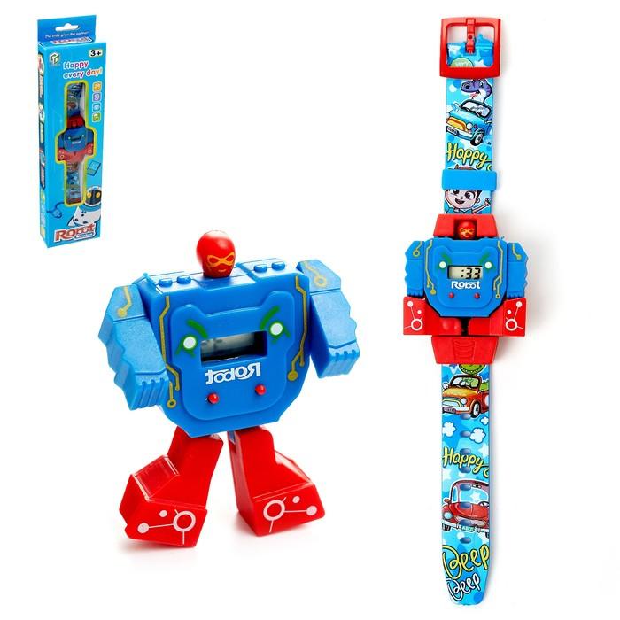 Робот «Робо-часы», трансформируется, работает от батареек, цвета МИКС