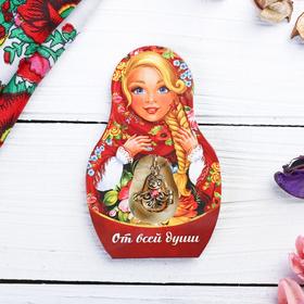 Подвеска-матрёшка на открытке «От всей души. Цветы» Ош