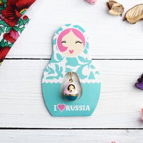 Подвеска-матрёшка на открытке I love Russia Ош