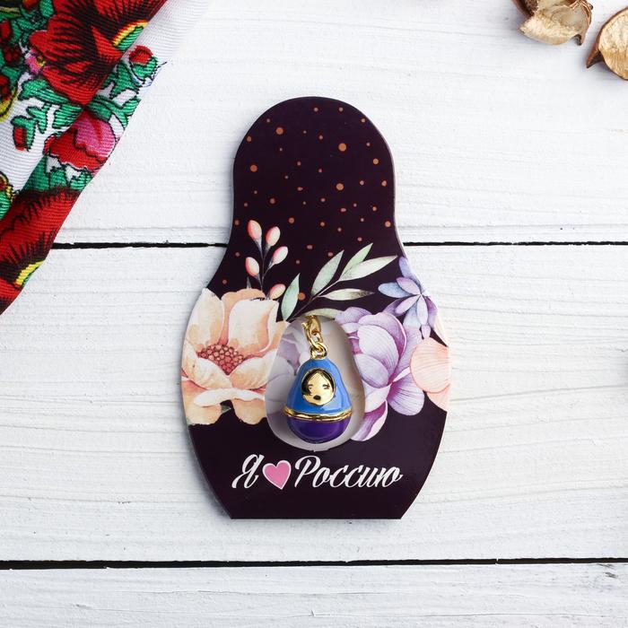 Подвеска-матрёшка на открытке Я люблю Россию