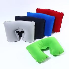 Подушка для шеи дорожная, надувная, 38 × 24 см, цвет зелёный Ош