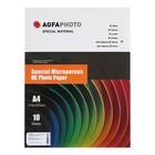 Фотобумага AGFA A4, 10 листов, микропористая, самоклеящаяся, RC Суперглянец, 190 г/м²