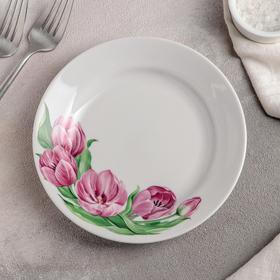 Тарелка мелкая «Розовые тюльпаны», 17,5 см