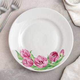 Тарелка мелкая «Розовые тюльпаны», d=20 см