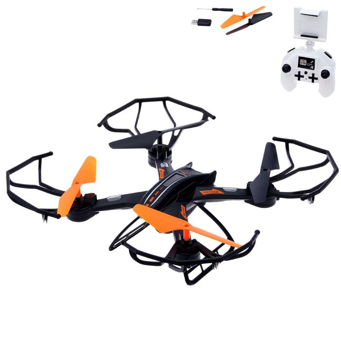 Квадрокоптер DH-X11DW, камера 0,3 Mpx, передача изображения на смартфон, Wi-Fi, барометр, цвет чёрно-оранжевый