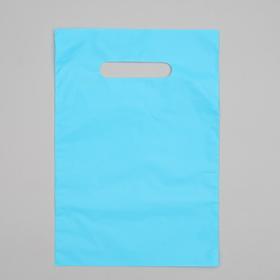 Пакет полиэтиленовый, с вырубной ручкой, голубой, 20 х 30, 33 мкм Ош