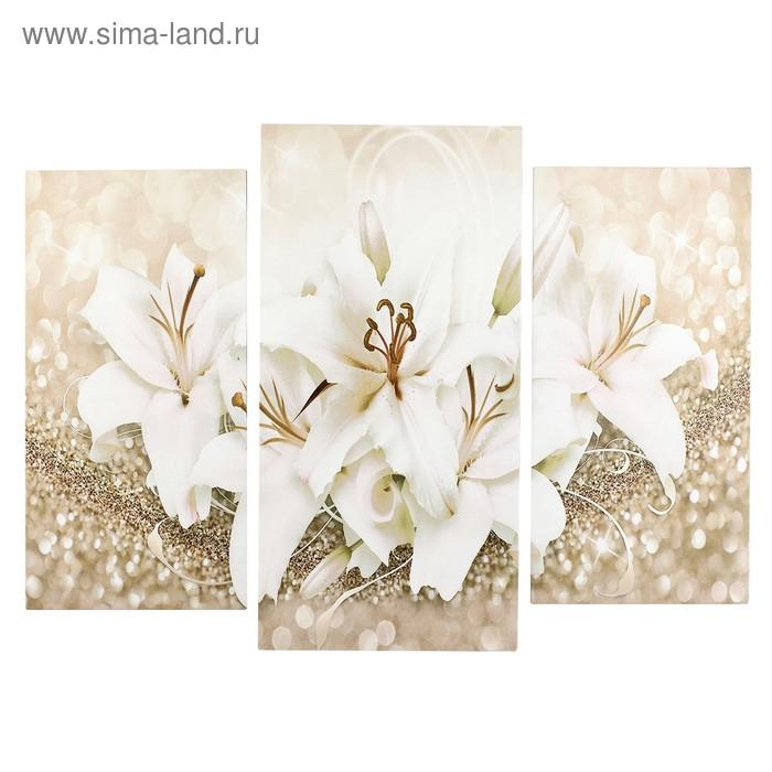 """Модульная картина """"Белые лилии"""" (2-25х50, 30х60см) 60х80 см"""