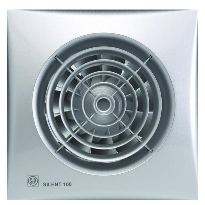 Вентилятор S&P SILENT-100 CZ SILVER, 220-240 В, бесшумный, 50 Гц, серебряный