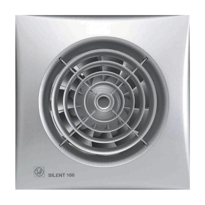 Вентилятор S&P SILENT-100 CHZ SILVER, 220-240 В, бесшумный, 50 Гц, серебряный