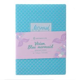 Записная книжка А6, 80 листов клетка Greenwich Line Vision. Blue mermaid, искусственная кожа, тонированный блок, цветной срез, голубая