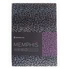Записная книжка А6, 80 листов клетка Greenwich Line Vision. Memphis, искусственная кожа, тонированный блок, серебряный срез