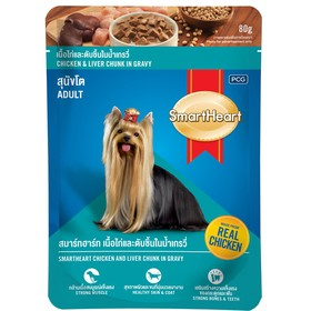 Влажный корм SmartHeart для собак, курица/печень в желе, пауч, 80 г Ош