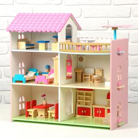 Дом деревянный для кукол, 41×8×50 см, с мебелью Ош