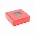 Коробка для печенья, с окном, красная, 10 х 10 х 3 см