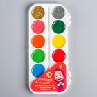 Акварель 10 цветов + 2 цвета с блёстками (золото, серебро), «Маша и Медведь», карамельная, без кисти