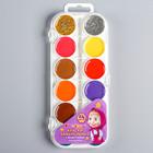Акварель 22 цвета + 2 цвета с блёстками (золото, серебро), «Маша и Медведь», карамельная, без кисти