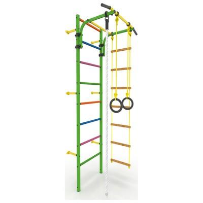 Детский спортивный комплекс «Атлет-2Ц», покрытие ПВХ, цветные ступени, 670 × 870 × 2250 мм, цвет зелёный - Фото 1