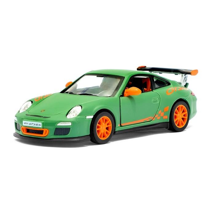 Машина металлическая Porsche Matte Series, 1:36, открываются двери, инерция, цвет зелёный матовый