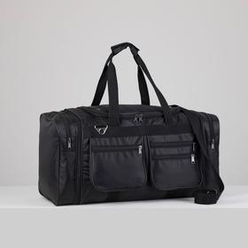 Сумка спортивная, отдел на молнии, 4 наружных кармана, длинный ремень, с расширением, цвет чёрный