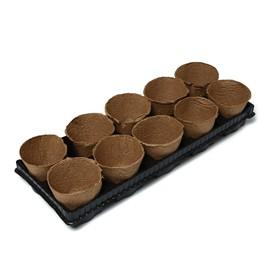 Торфяной горшок, 500 мл, 11 × 10 см, 10 шт., с поддоном