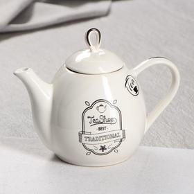 """Чайник для заварки """"Петелька"""", белый, чай, 0.8 л"""