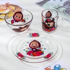 "Набор посуды ""Маша и Медведь. Малина"", 3 предмета: кружка 250 мл, салатник 13 см, тарелка 19,5 см"