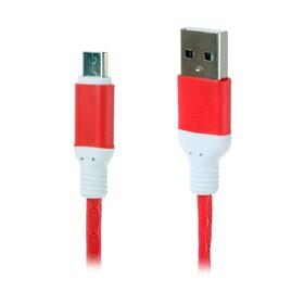 Кабель LuazON, micro USB - USB, 1 А, 1 м, красный Ош