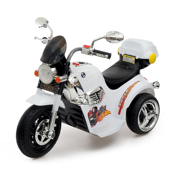 Электромобиль Чоппер, с аккумулятором, световые и звуковые эффекты, цвет белый