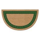 Коврик придверный Kokarda «Меандр», 40 х 70 см, зелёный, полукруг