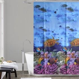 Шторка для ванной Dasch, 180×180 см, рисунок океан