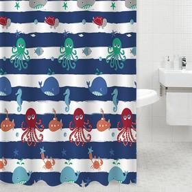 Шторка для ванной Dasch, 180×180 см, рисунок подводный мир