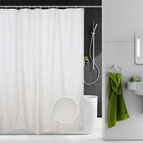 Шторка для ванной Dasch, 180×200 см, рисунок линии, бежевая