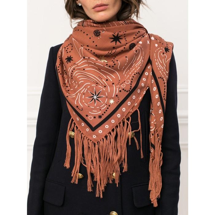 Платок женский 130×130 см, коричневый