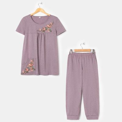 Костюм женский (футболка, бриджи) «Эдем», цвет пудрово-кофейный, размер 48