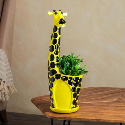 "Фигурное кашпо ""Жираф"", жёлтый, керамика, 2.3 л - Фото 1"