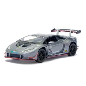 Машина металлическая Lamborghini Huracán LP620-2 Super Trofeo, 1:36, открываются двери, инерция, цвет серый