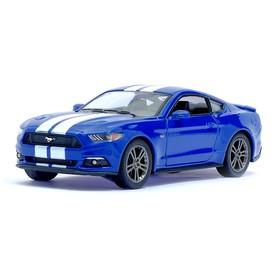Машина металлическая Ford Mustang GT, 1:38, открываются двери, инерция, цвет синий