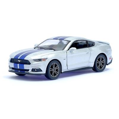 Машина металлическая Ford Mustang GT, 1:38, открываются двери, инерция, цвет серебристый