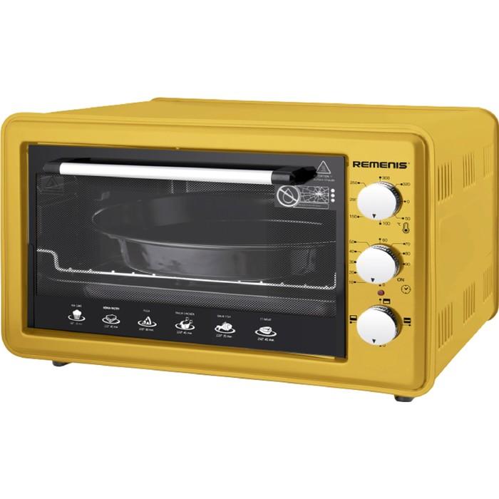 Духовой шкаф REMENIS REM-5006, 1500 Вт, 42 л, 3 режима, таймер, жёлтый